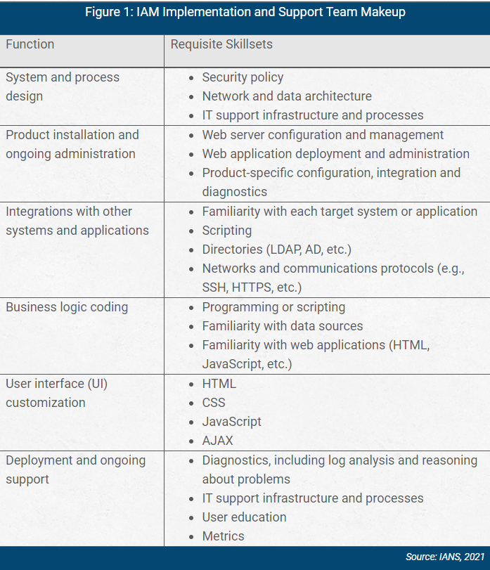 chart showing iam implementation and support team makeup