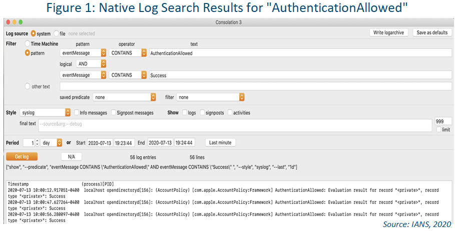 screenshot of native log search result macos