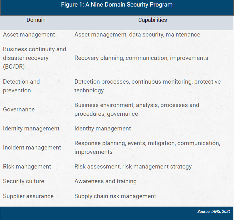 chart showing a nine-domain security program