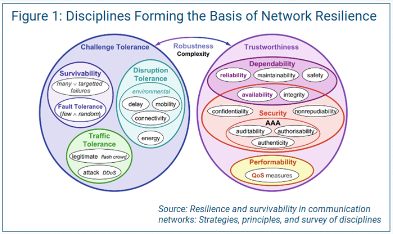 diagram showing the disciplines for the basis of network resilience